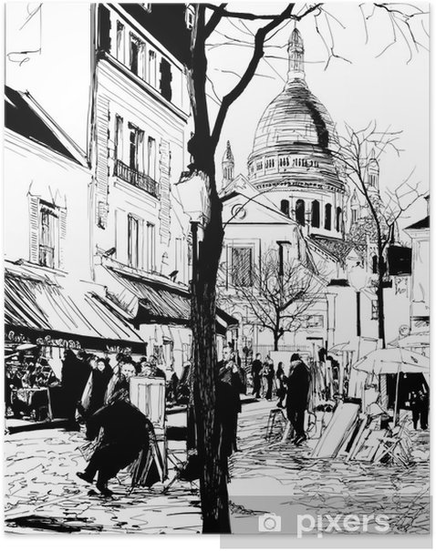 Montmartre in winter Poster - Themes