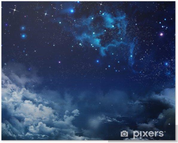 Poster Mooie achtergrond van de nachtelijke hemel met sterren - Thema's