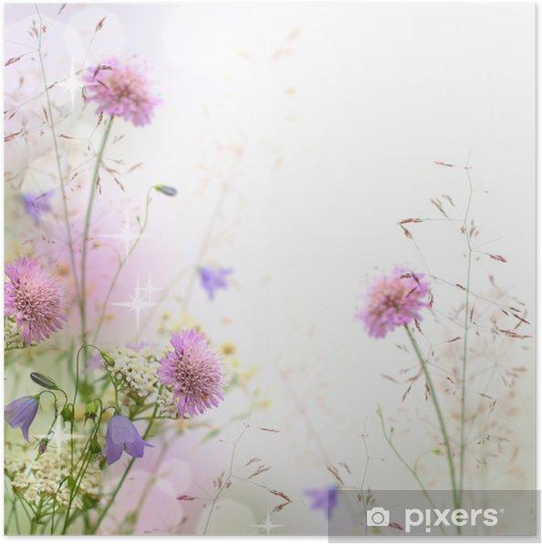 Poster Mooie pastel bloemen grens - vage achtergrond - iStaging
