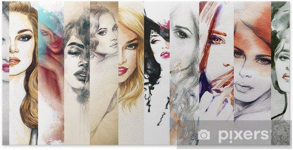 Poster Mooie vrouw gezicht. aquarel illustratie - Mode