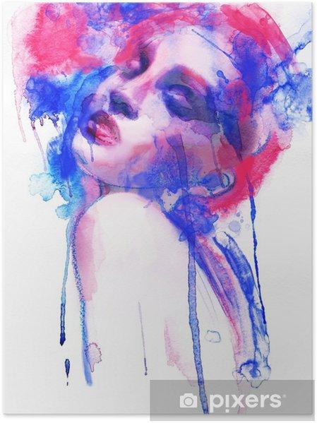 Poster Mooie vrouw. Hand geschilderde mode-illustratie - Mode