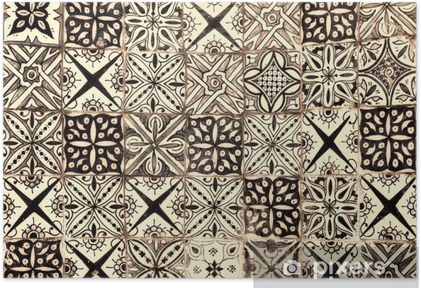 moroccan vintage tile background Poster - Styles