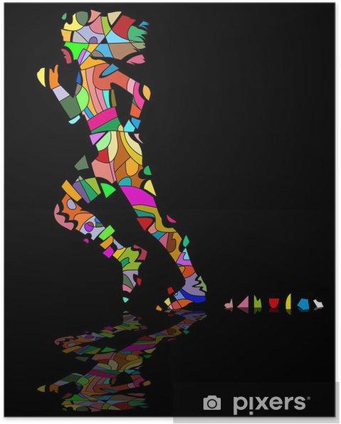 Poster Mosaico che si scompone di ragazza che corre - Thèmes