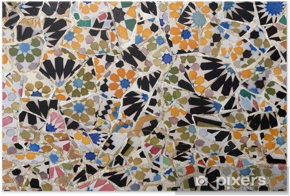 Poster Mosaik im Park Güell, Barcelone - Villes européennes