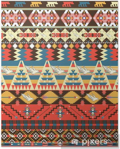 Poster Motif aztèque coloré transparente avec des oiseaux, des fleurs et des flèches - Styles