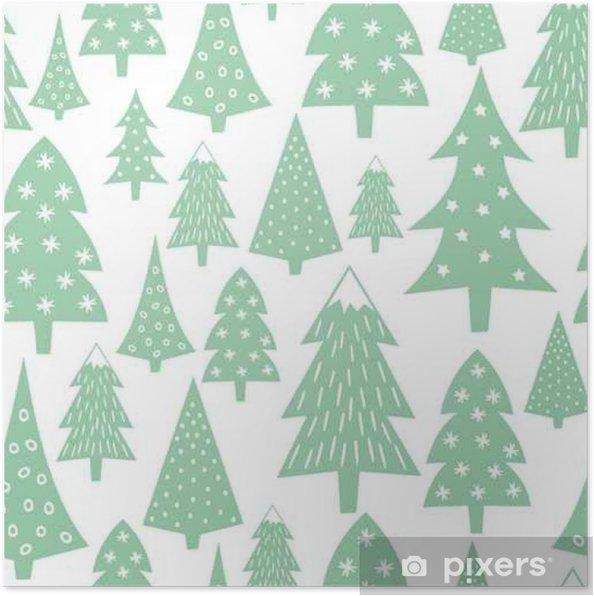 Poster Motif De Noel Varie Arbres Et Des Flocons De Neige De Noel