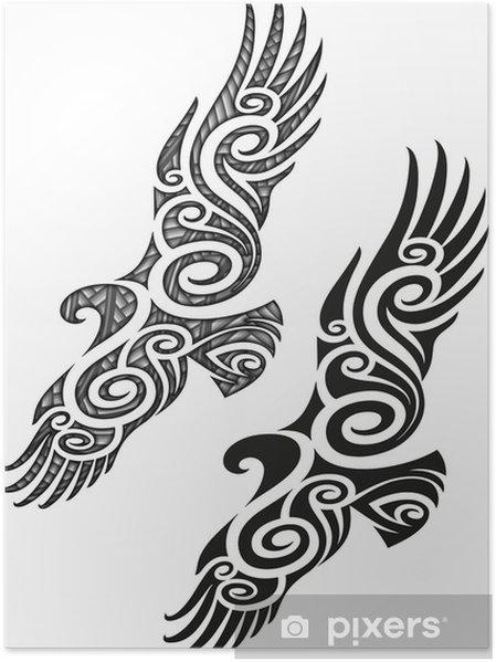poster motif de tatouage maori eagle pixers nous vivons pour changer. Black Bedroom Furniture Sets. Home Design Ideas