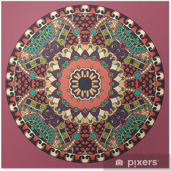 Poster Motif décoratif de modèle de plat de cercle, patte géométrique ronde - Arrière plans