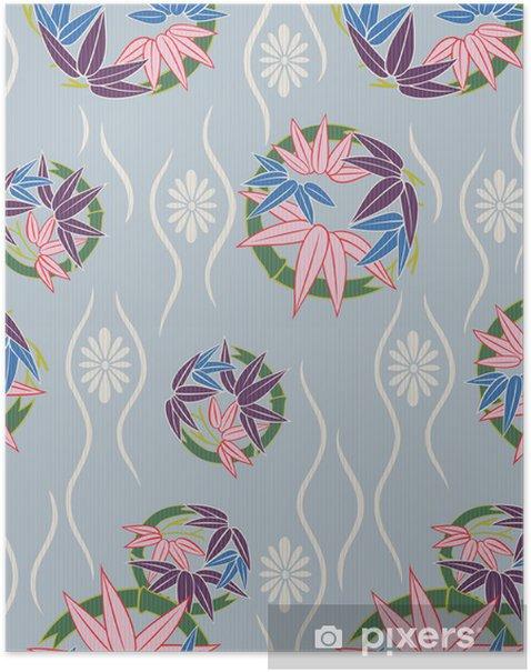 Poster Motif floral japonais sans soudure - Arrière plans