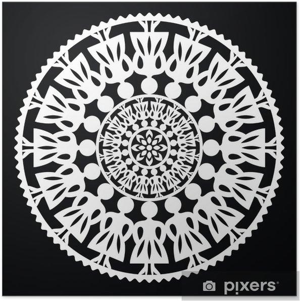 Poster Motif folklorique polonaise traditionnelle en cercle avec les femmes sur le noir - Europe
