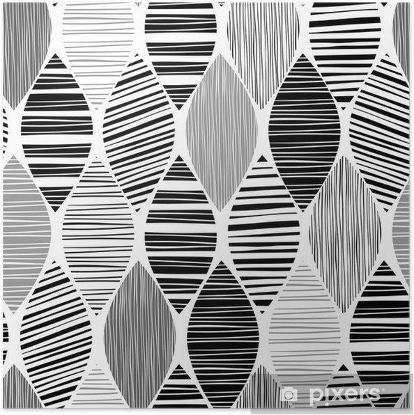 Poster Motif monochrome transparente avec des feuilles abstraites rayures. - Arrière plans