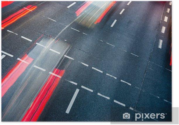 Poster Motion wazig stad wegverkeer (kleur getinte afbeelding) - Thema's