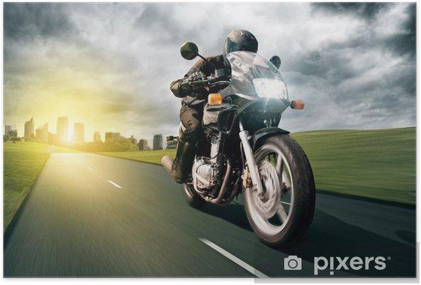 Poster Moto et Ville - Sur la route