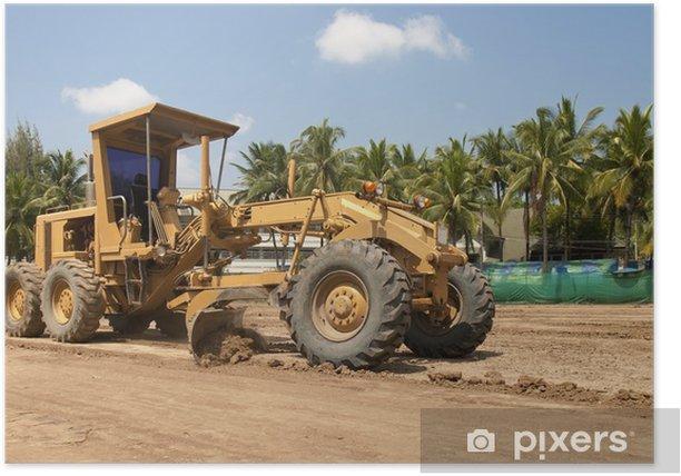 Poster Motorgrader werken aan de aanleg van wegen - Zware Industrie
