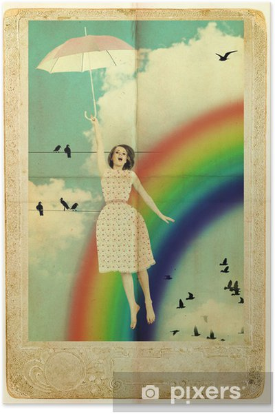 Poster Mouche beauté femme avec un parapluie dans le ciel - Les arcs-en-ciel