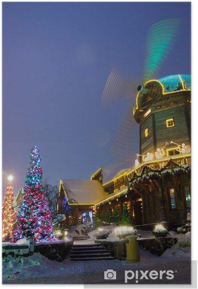 Poster Moulin à vent avec des décorations de christmass - Autres objets