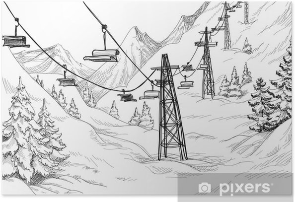 Mountain Ski Lift Chairs Pencil Drawing Poster Pixers We Live To Change