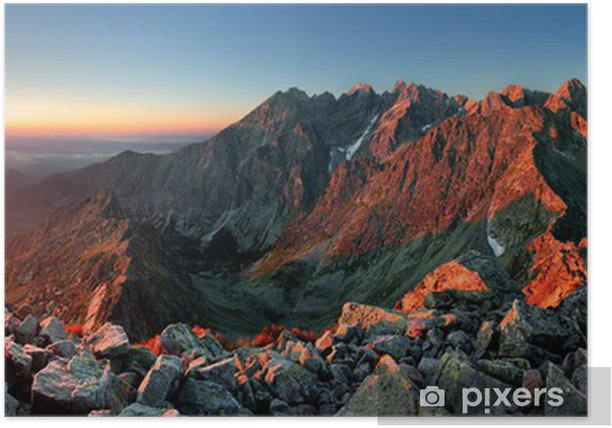 Mountain sunset panorama from peak - Slovakia Tatras Poster - Themes