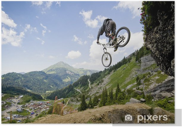 Mountainbiker jumping from a rock Poster - iStaging