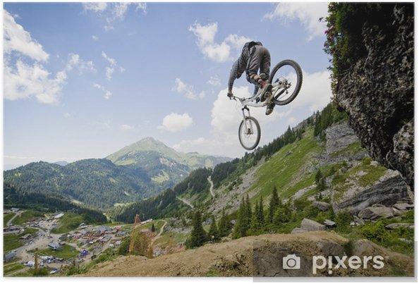 Poster Mountainbiker sautant d'un rocher - iStaging