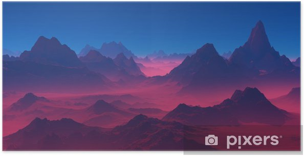Mountains at sunset. Poster - Landscapes