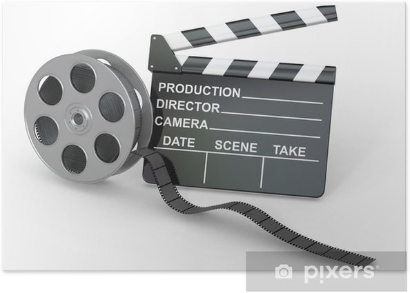 Movie industry. Clapperboard and film reel. Poster - Entertainment