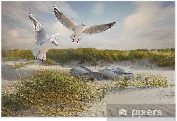 Möwen, Dünen und Fischerboote Poster - Summer