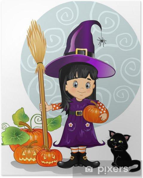 Póster Muchacha de la bruja con el gato y calabazas - Celebraciones internacionales