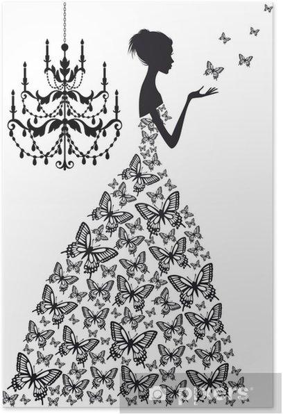 Póster Mujer con mariposas, vector - Moda
