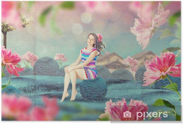 Póster Mujer hermosa en el jardín de hadas de las flores • Pixers ...