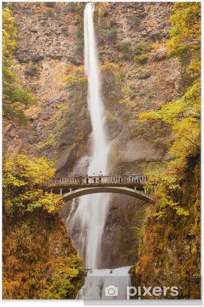 Póster Multnomah Falls Waterfall Columbia River Gorge, Oregon - Maravillas de la naturaleza
