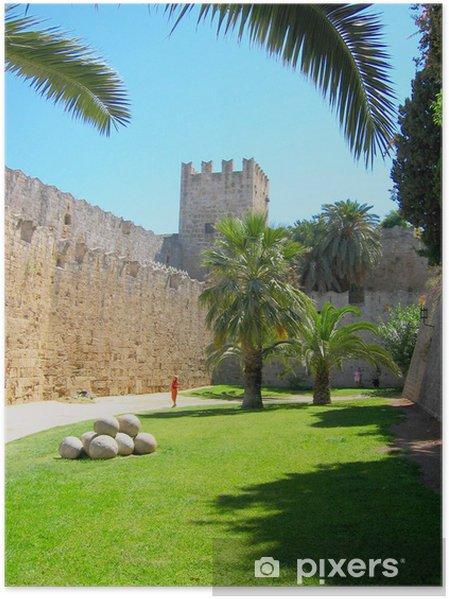 Poster Murs de la vieille ville de Rhodes - Europe