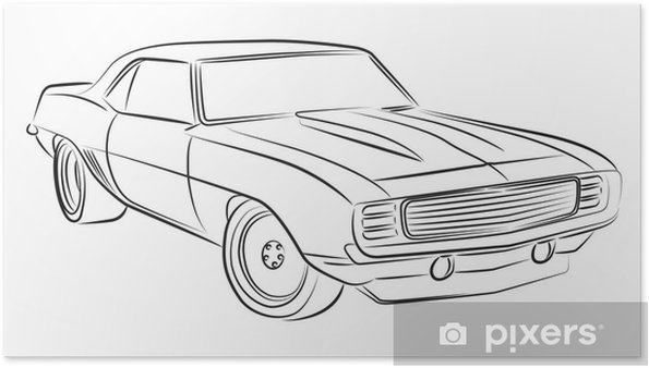 muscle car drawing poster • pixers® • we live to change