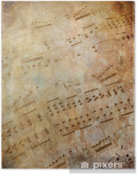 Musical scores grungy Poster - Styles