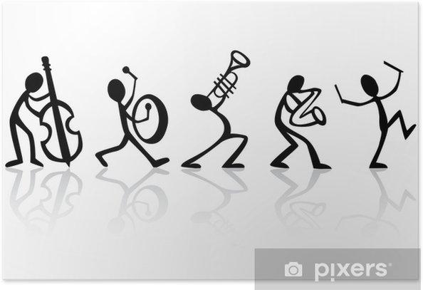 Póster Músicos tocando música de banda, ideal vector para camisetas - Jazz