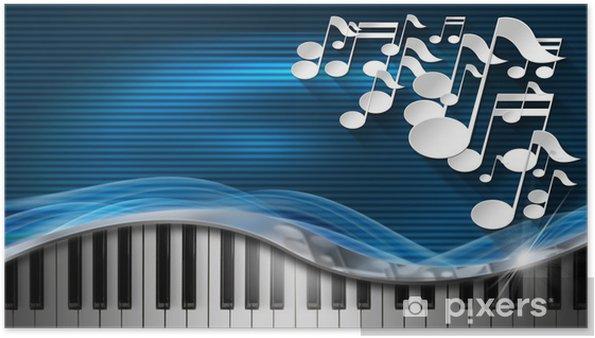 Poster Musique Bleu Et Carte De Visite Professionnel