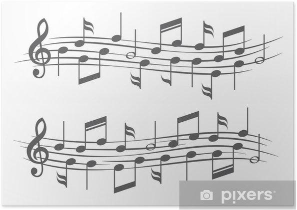 Poster Muziek noten op notenbalken - Achtergrond