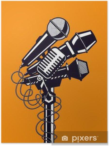 Poster Muziek poster met microfoons. - Hobby's en Vrije tijd