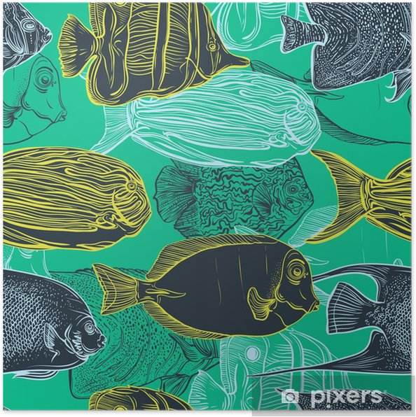 Poster Naadloos patroon met de collectie van tropische fish.Vintage set van de hand getekende mariene fauna.Vector illustratie in lijntekeningen style.Design voor de zomer strand, decoraties. - Dieren
