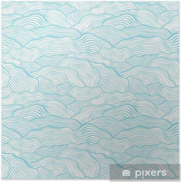 Poster Naadloos patroon met golvende schaal textuur - Landschappen