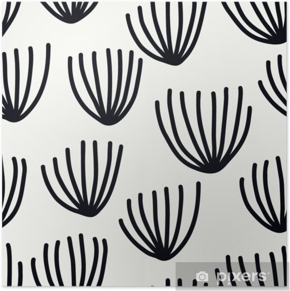 Poster Naadloos patroon met moderne bloemen en abstracte elementen in verse pastelkleuren. - Hobby's en Vrije tijd