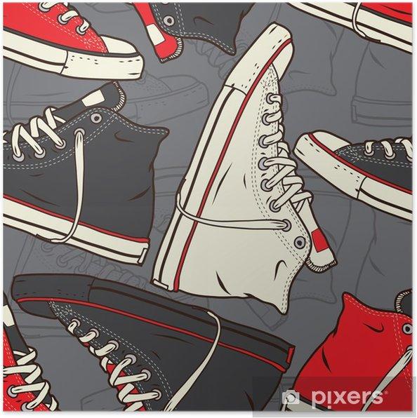 Poster Naadloos patroon met sneakers Vector achtergrond. - Levensstijl