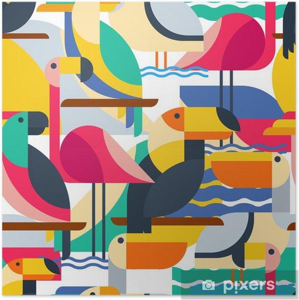 Poster Naadloos patroon met tropische vogels. - Dieren