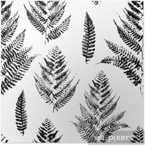 Poster Naadloos patroon met verf afdrukken van varenbladeren - Industrieel