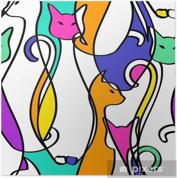 Poster Naadloos Patroon Van Geometrische Samenvatting Cats. - Dieren