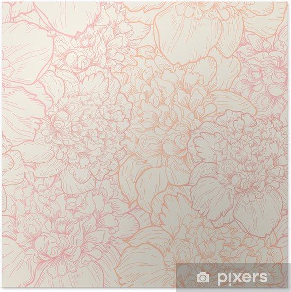 Poster Naadloos patroon van pioenen - Stijlen