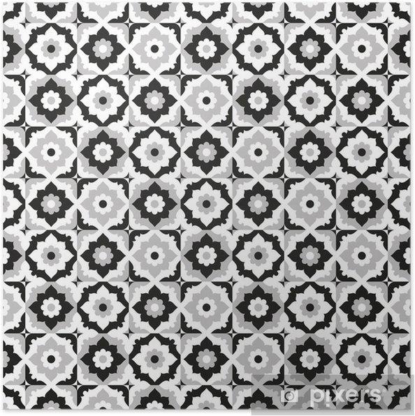 Poster Naadloos patroon zwart-wit keramische tegels - Borden