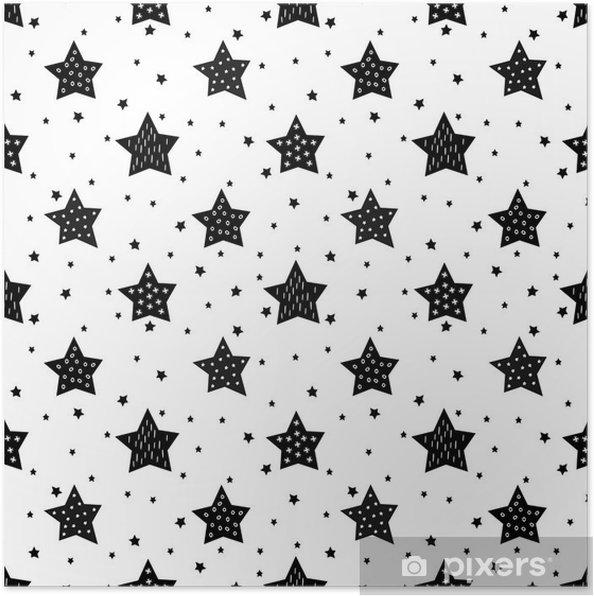 Poster Naadloos zwart-wit patroon met schattige sterren voor kinderen. Baby shower vector achtergrond. Child tekenstijl xmas patroon. - Landschappen