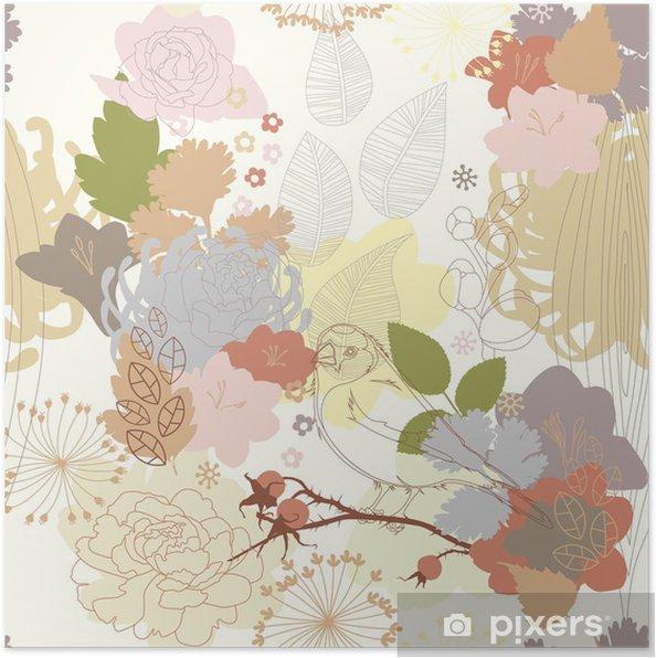 Poster Naadloze achtergrond met abstracte botanische ornament - Thema's