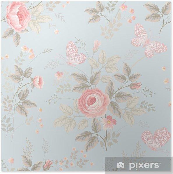 Poster Naadloze bloemmotief met rozen en vlinders - Bloemen en Planten